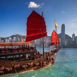 Red wooded boat icon of Hongkong city